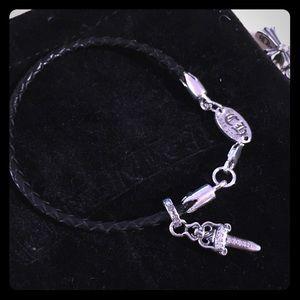 Chrome Hearts Diamond Dagger Leather Bracelet